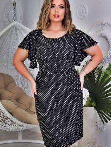 Летнее платье на короткий рукав большого размера в офис