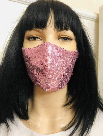 Нарядная розовая маска с паетками, фото 1