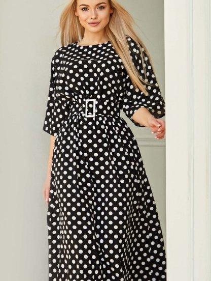 Летнее платье в горохи, макси-длины, с поясом, фото 1