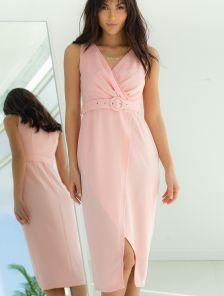 Розовое платье на лето миди