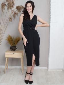 Черное платье на лето миди с поясом