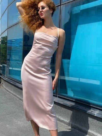Легкое бежевое летнее платье, фото 1