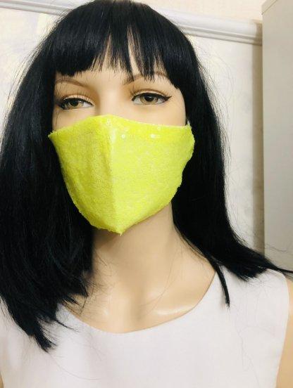 Ярко-желтая маска с паетками, фото 1