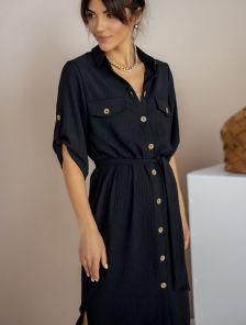 Летнее стильное платье-рубашка чёрного цвета миди длины