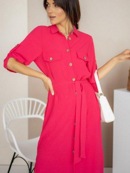 Летнее стильное платье-рубашка малинового цвета миди длины, фото 1