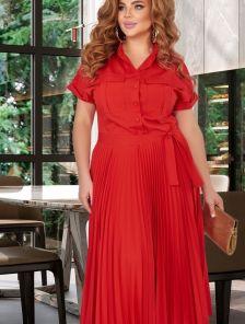 Летнее платье-сафари в большом размере,юбка-гофре,лиф на пуговицах