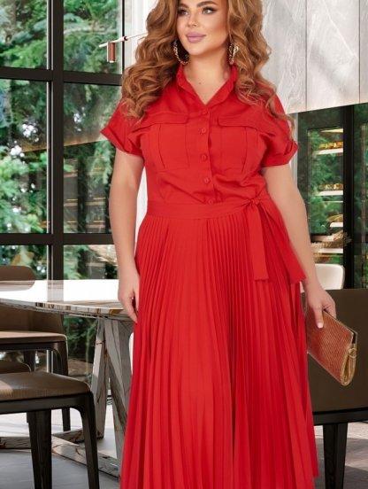 Летнее платье-сафари в большом размере,юбка-гофре,лиф на пуговицах, фото 1