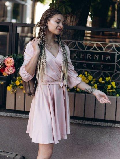 Летнее легкое короткое платье персикового цвета, фото 1