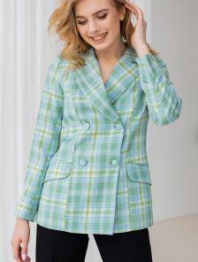 Стильный женский пиджак зеленого цвета в клетку