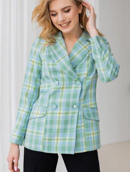 Стильный женский пиджак зеленого цвета в клетку, фото 1