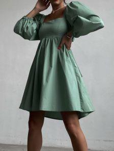 Мятное летнее хлопковое платье с квадратным вырезом, открытой спинкой и бантом