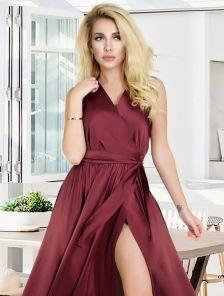 Бордовое короткое платье на лето