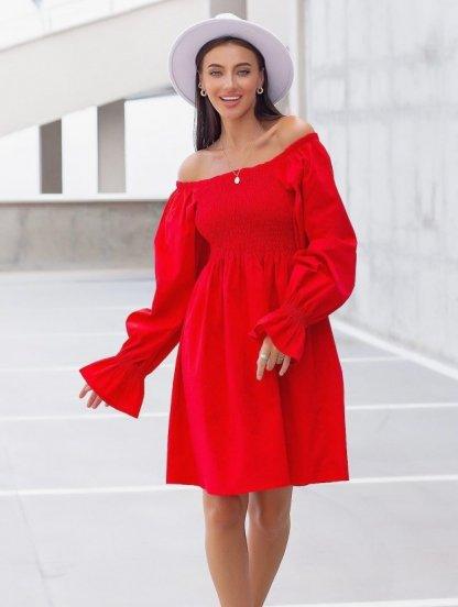 Летнее красное льняное платье с открытыми плечами, фото 1