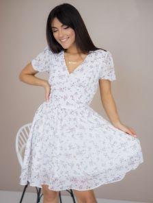 Летнее короткое шифоновое платье с цветочным рисуком