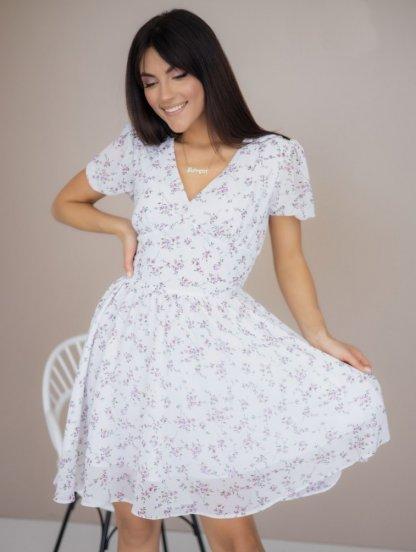 Летнее короткое шифоновое платье с цветочным рисуком, фото 1
