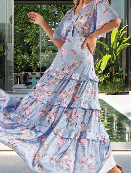 Длинное шелковое платье небесно-голубого цвета с коротким летящим рукавом, фото 1