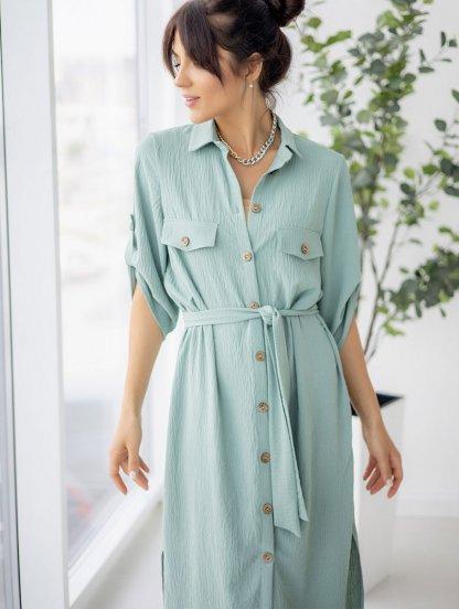 Летнее стильное платье-рубашка фисташкового цвета миди длины, фото 1