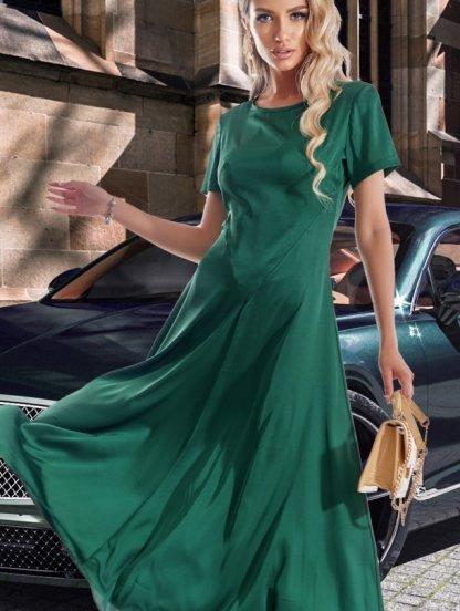 Длинное шелковое платье зеленого цвета, фото 1