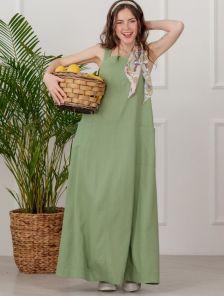Оливковое платье из натурального льна