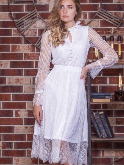 Белое кружевное платье миди на длинный рукав, фото 1