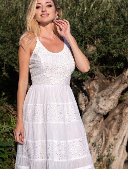 Летнее белое хлопковое платье на бретелях, фото 1