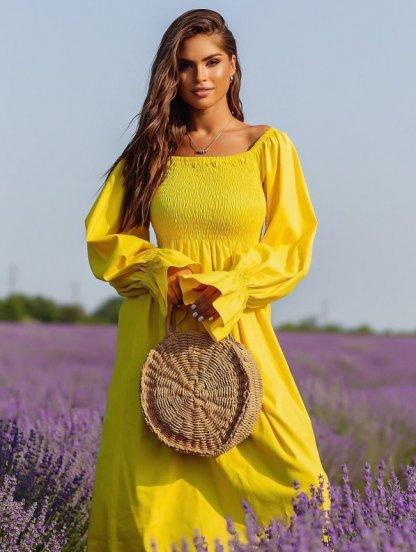 Летнее желтое льняное платье с открытыми плечами, фото 1