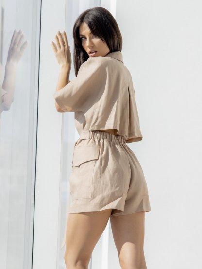 Льняной комбинезон с шортами цвета капучино, фото 1