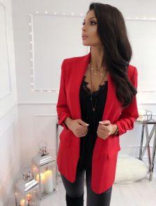 Свободный женский пиджак красного цвета