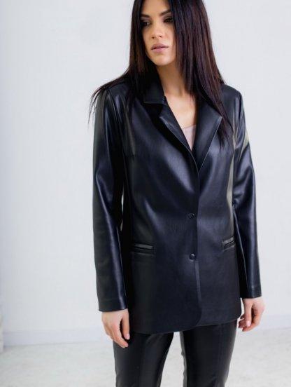 Свободный женский черный пиджак из экокожи, фото 1