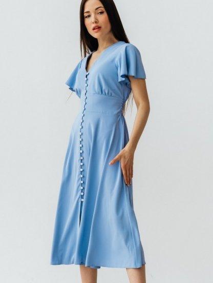 Летнее легкое красное платье на короткий рукав миди длины, фото 1