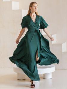 Длинное вечернее шелковое изумрудное платье с коротким рукавом