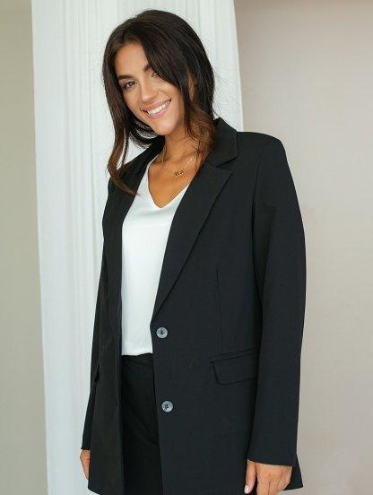 Черный классический женский брючный костюм двойка, фото 1