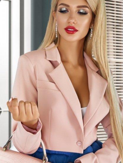 Стильный пудровый женский укороченный пиджак-жакет, фото 1