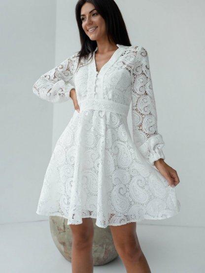 Летнее белое короткое кружевное платье с длинным рукавом, фото 1