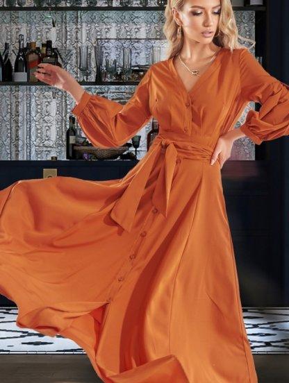 Длинное стильное платье горчичного цвета с рукавом 3/4, фото 1