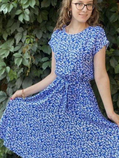 Летнее синее штапельное натуральное платье с цветочным принтом, фото 1