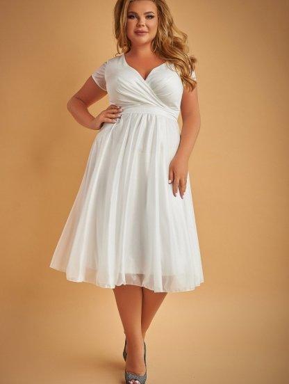 Вечернее платье миди белого цвета большого размера под пояс, фото 1