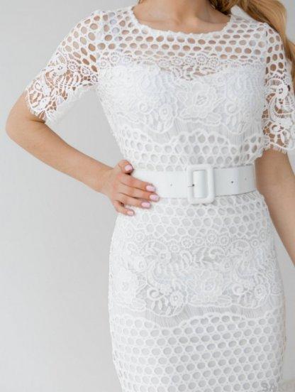 Летнее, белое, короткое кружевное платье , с коротким рукавом, фото 1