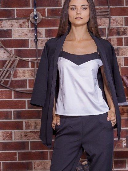 Нарядный черный женский брючный костюм тройка, фото 1