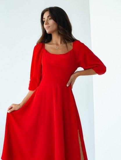 Красное летнее платье с квадратным вырезом, фото 1