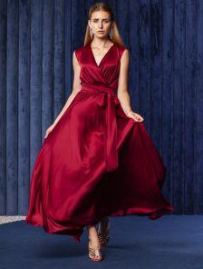 Длинное шелковое длинное вечернее платье цвета марсала