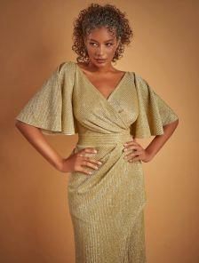 Длинное нарядное золотистое блестящее платье с разрезом