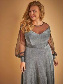 Длинное блестящее серебристое платье в пол с длинным рукавом