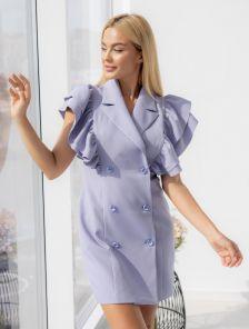 Лиловое платье-пиджак с пышными воланами на запах
