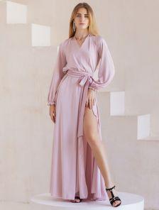 Вечернее пудровое нарядное длинное платье с длинным рукавом