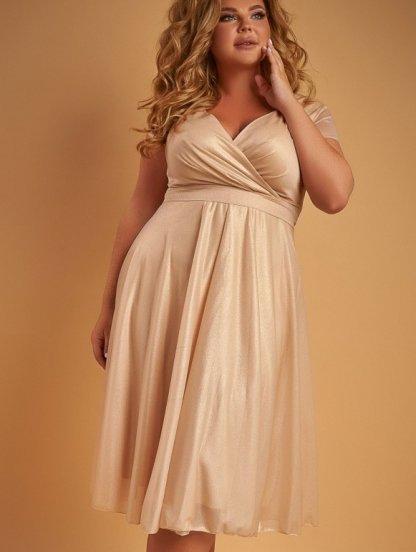 Вечернее платье миди золотистого цвета большого размера под пояс, фото 1