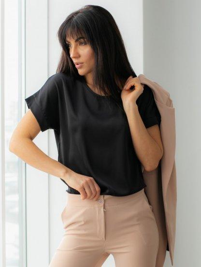Летняя шелковая черного футболка, фото 1