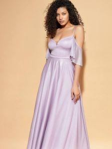 Нарядное лиловое длинное вечернее платье в пол на тонких бретелях