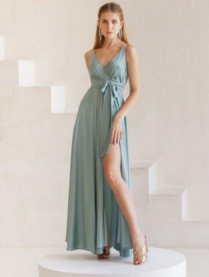 Нарядное длинное мятное шелковое платье, фото 1