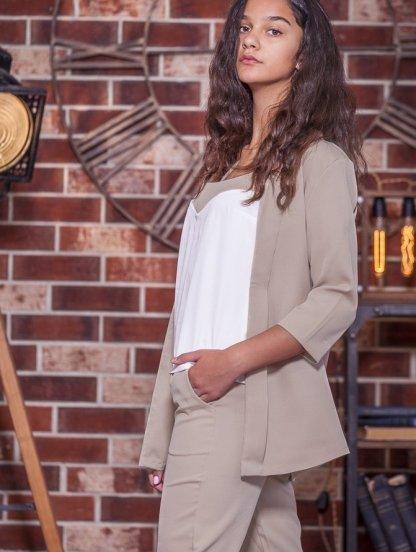Бежевый нарядный женский брючный костюм тройка, фото 1